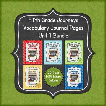 Journeys Fifth Grade Vocabulary Journal Pages Unit 1 Bundle