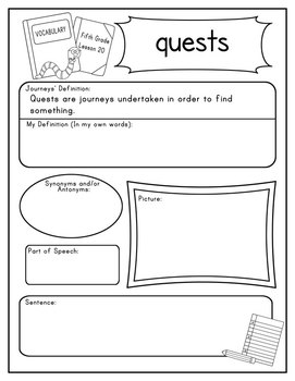 Journeys Fifth Grade Vocabulary Journal Pages Unit 4 Bundle