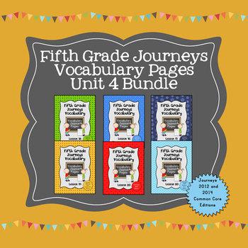 Journeys Fifth Grade Vocabulary Journal Pages Unit 4 Bundle
