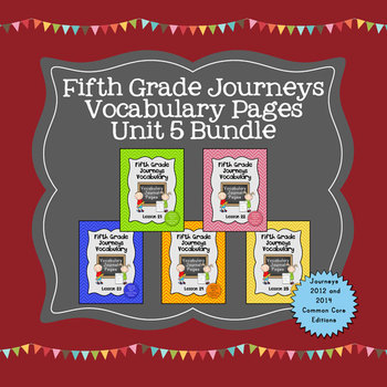 Journeys Fifth Grade Vocabulary Journal Pages Unit 5 Bundle