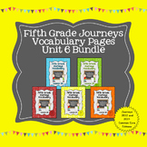 Journeys Fifth Grade Vocabulary Journal Pages Unit 6 Bundle