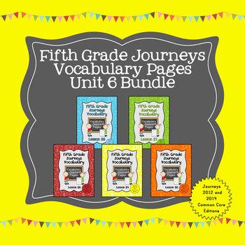 Journeys Fifth Grade Vocabulary Journal Pages Unit 6 Bundle