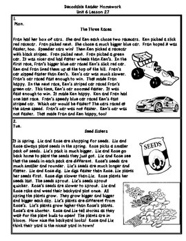 Journeys First Grade (2011) Decodable Readers Unit 6