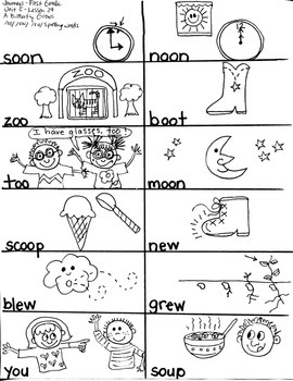 Journeys First Grade: A Butterfly Grows/ Unit 5-Lesson 24-Spelling Words /oo/ou/