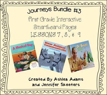 Journeys (2011-2012 edition) First Grade BUNDLE #3 (Smartboard Lessons 7,8,9)