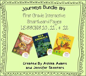 Journeys (2011-2012 edition) First Grade BUNDLE #4 (Smartboard Lessons 10,11,12)