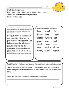 Journeys First Grade Common Core Homework Lesson 11 At Home in the Ocean