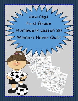 Journeys First Grade Common Core Homework Lesson 30 Winners Never Quit!