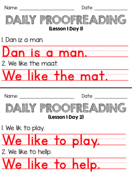 Journeys First Grade Daily Proofreading Unit 1