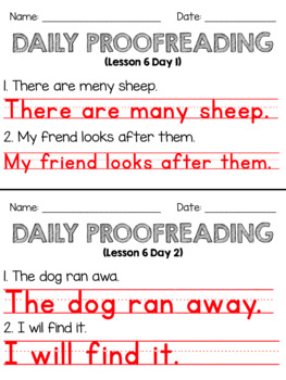 Journeys First Grade Daily Proofreading Unit 2