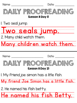 Journeys First Grade Daily Proofreading Unit 3