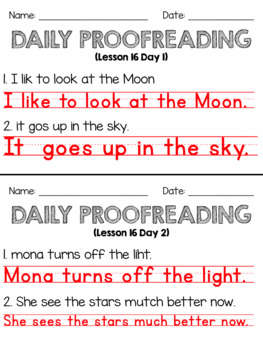 Journeys First Grade Daily Proofreading Unit 4