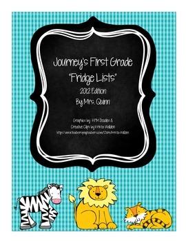 Journeys First Grade Fridge Lists: Sight Words & Spelling Words