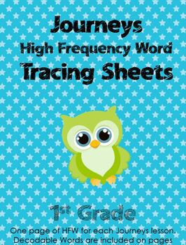 Journeys First Grade High Frequency Word Tracing Pages