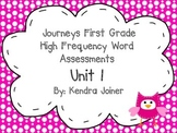 Journeys First Grade Lessons 1-5 High Frequency Words Assessments