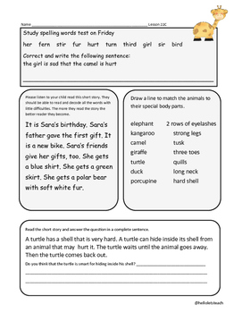Journeys First Grade Homework Amazing Animals Lesson 22