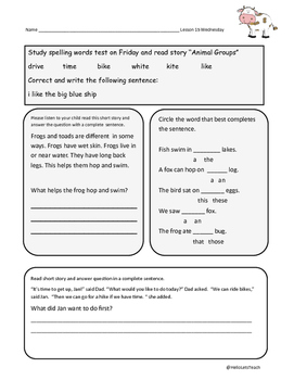 first grade reading homework