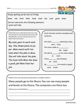 Journeys First Grade Homework Lesson 19 Tomas Rivera
