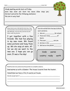 Journeys First Grade Homework Lesson 24 A Tree is a Plant