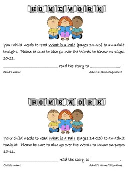 Journeys - First Grade - Homework: Read the Story