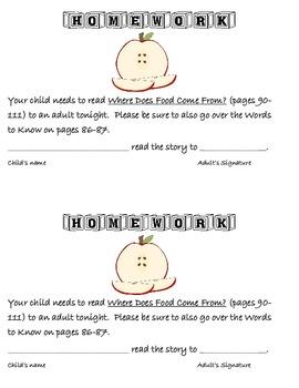 Journeys - First Grade - Homework: Read the Story