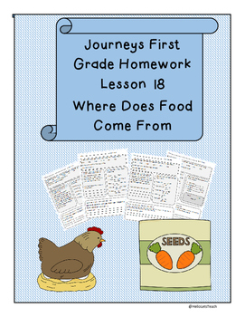 Journeys First Grade Reading Homework lesson 18 Where Does Food Come From?