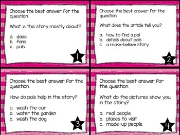 Journey's First Grade Lesson 1 What is a Pal?  Comprehension Task Cards