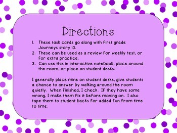Journey's First Grade Lesson 13 Seasons Comprehension Task Cards
