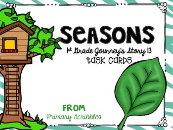 Journey's First Grade Lesson 13 Seasons Phonics and Vocab Task Cards