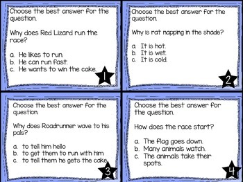 Journey's First Grade Lesson 14 The Big Race Comprehension Task Cards