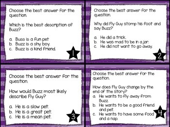Journey's First Grade Lesson 29 Hi! Fly Guy Comprehension Task Cards