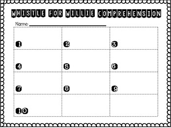 Journey's First Grade Lesson 23 Whistle for Willie Comprehension Task Cards