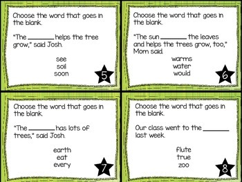 Journey's First Grade Lesson 24 A Tree is a Plant Task Cards