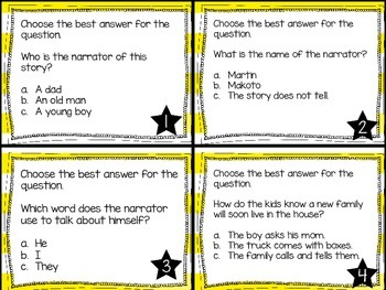 Journey's First Grade Lesson 25 The New Friend Comprehension Task Cards