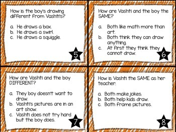 Journey's First Grade Lesson 26 The Dot Comprehension Task Cards