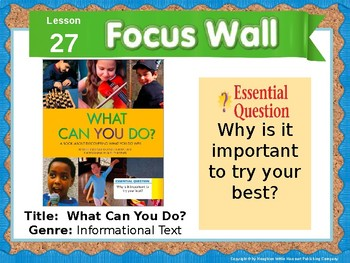 Journeys First Grade Lesson 27 Focus Wall (Editable)