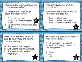 Journey's First Grade Lesson 27 What Can You Do? Comprehension Task Cards