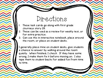 Journey's First Grade Lesson 28 The Kite Phonics and Vocabulary Task Cards