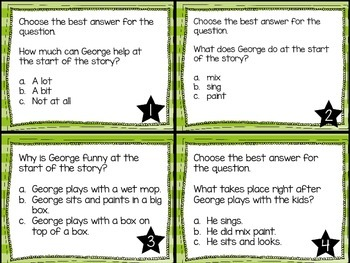 Journey's First Grade Lesson 3 Curious George at School Comprehension Task Cards