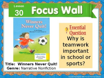 Journeys First Grade Lesson 30 Focus Wall (Editable)