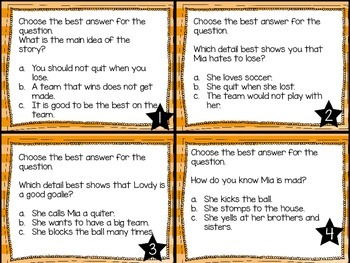 Journey's First Grade Lesson 30 Winners Never Quit Comprehension Task Cards