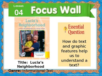 Journeys First Grade Lesson 4 Focus Wall (Editable)