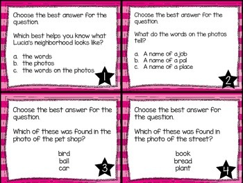 Journey's First Grade Lesson 4 Lucia's Neighborhood Comprehension Task Cards