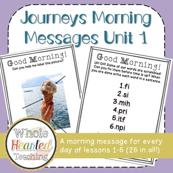 Journeys First Grade Morning Mesages Unit 1
