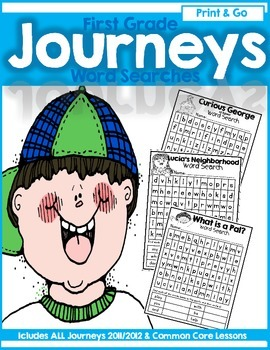 Journeys First Grade Print and Go High Frequency Word (Sight Word) Word Searches