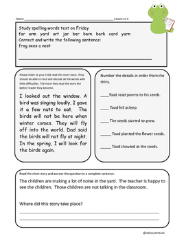 Journeys First Grade Reading Homework Frog and Toad The Garden Lesson 21