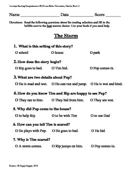 Teacher-Created 1st Grade Reading Test from Journeys, Lesson 2