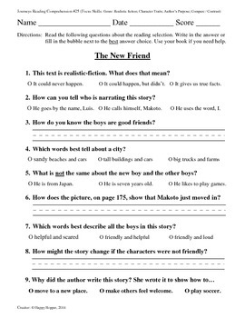 Teacher-Created 1st Grade Reading Test from Journeys, Lesson 25