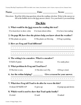 Teacher-Created 1st Grade Reading Test from Journeys, Lesson 28