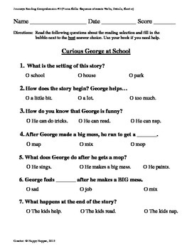 Teacher-Created 1st Grade Reading Test from Journeys, Lesson 3